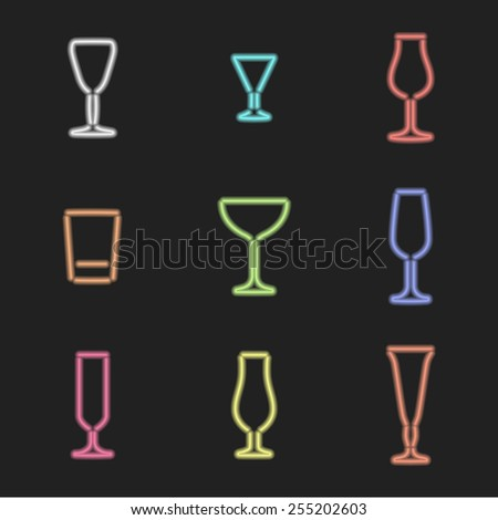 vector neon light sign various colors alcohol glasses set dark background  - stock vector