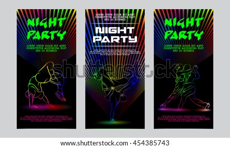 Vector neon set of flyers for the night party. Template invitation to a disco. Glowing silhouettes of people dancing. - stock vector