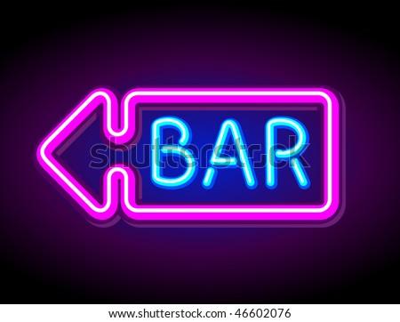 vector neon sign bar - stock vector