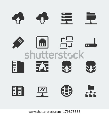 Vector network mini icons set - stock vector