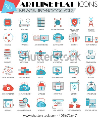 Vector Network technology ultra modern outline flat line icons for web and apps.  - stock vector