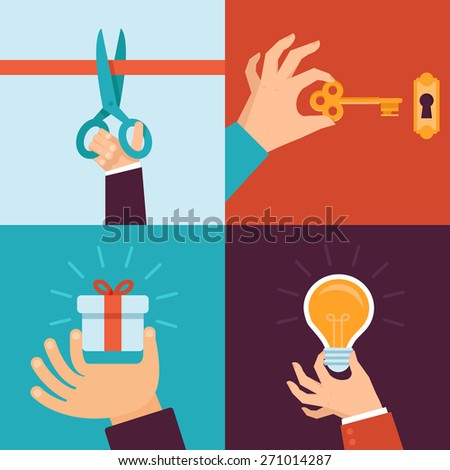 Vector new beginning and opening new perspectives concepts - icons and illustrations in flat style - stock vector