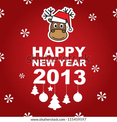 Vector New Year banner with reindeer - stock vector