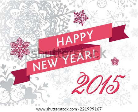 vector 2015 new year card, banner, invitation cover with snowflakes and red ribbon, winter pattern, background - stock vector
