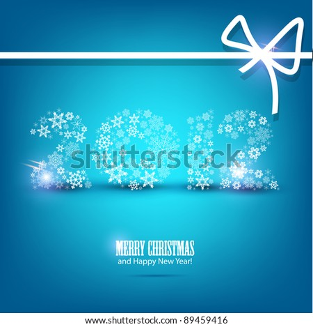 Vector New Year card 2012 made from snowflakes. Christmas background - stock vector