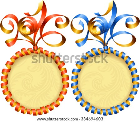 Vector New Year 2016 circle frame set. Red and blue streamer - stock vector