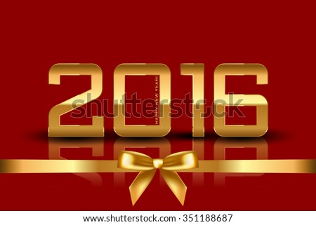 vector 2016 New Year red background with ribbon - stock vector