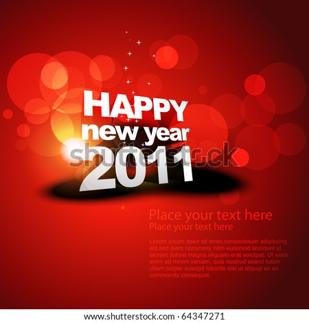 vector new year shiny background on red - stock vector