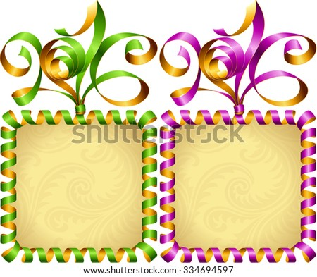 Vector New Year 2016 square frame set. Green and purple streamer - stock vector