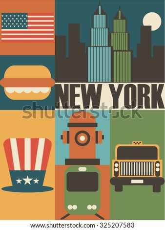 Vector New York background icon set - stock vector