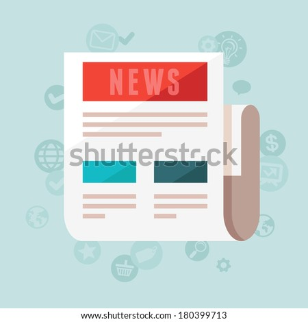 Vector news concept in flat style - newspaper and icons - stock vector