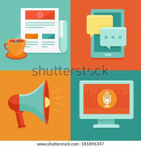 Vector news concepts in flat style - information and media icons - marketing and promotion - stock vector
