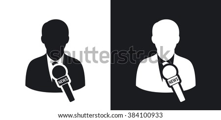 Vector news reporter icon. Two-tone version on black and white background - stock vector