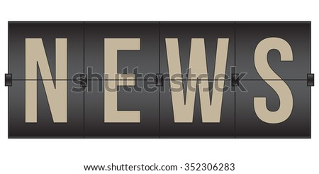 vector News Scoreboard, black flip sign isolated on white background - stock vector