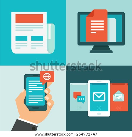 Vector newsletter concept in flat style - news, updates and messages - stock vector
