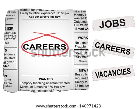 Vector newspaper clipping. Careers and jobs section - stock vector
