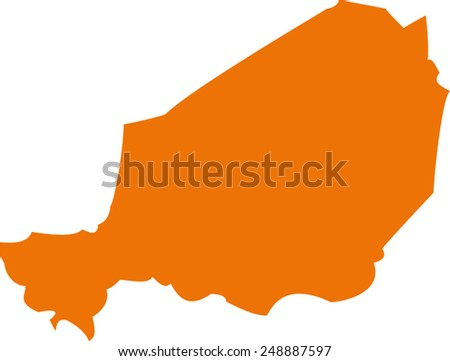 Vector Niger map on Africa - stock vector