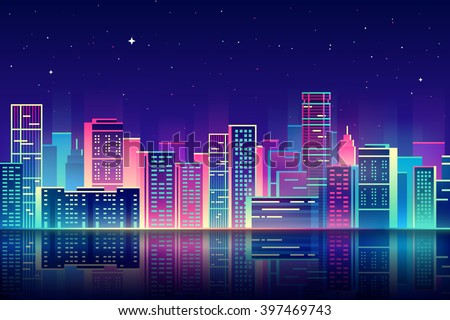 Vector night city illustration with neon glow and vivid colors. - stock vector