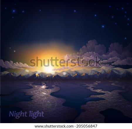 Vector night landscape with mountain ranges, rivers, clouds, stars and the setting sun shining. - stock vector