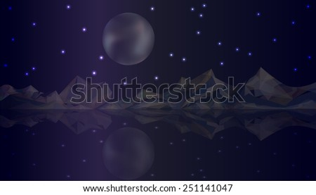 Vector night nature landscape with mountains and lake on starry sky background. Full moon - stock vector