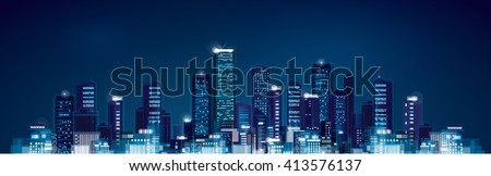 Vector night panoramic cityscape. - stock vector