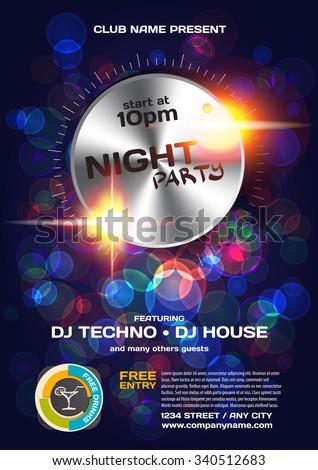Vector night party invitation techno style. Vector template graphic. - stock vector