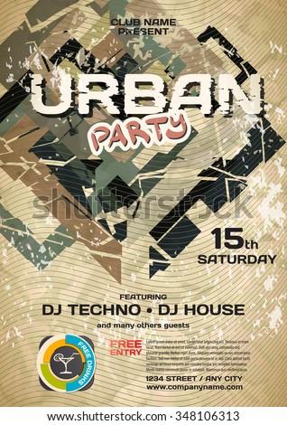 Vector night party urban invitation. Vector template graphic - stock vector