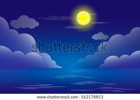 vector night sea landscape. - stock vector
