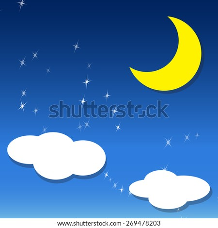 vector night sky, crescent Moon ,two white cloud and stars , Isolated object - stock vector