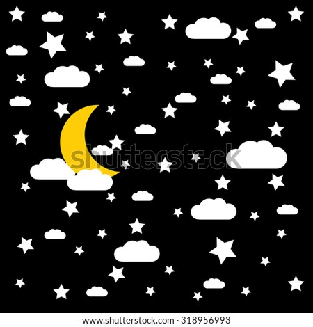 vector night sky, moon and stars - stock vector
