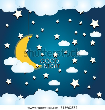 vector night sky, moon and stars with text Good Night - stock vector