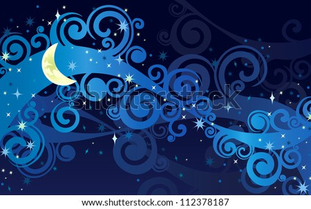 Vector night starry sky with yellow moon and milky way - stock vector