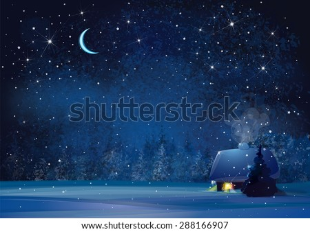 Vector night winter landscape with house and forest background. - stock vector