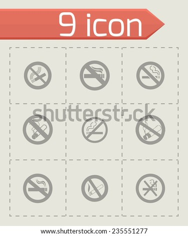 Vector no smoking icon set on grey background - stock vector
