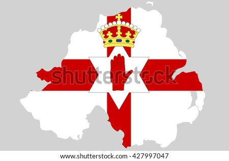 Vector Northern Ireland topographic map isolated on grey background. Irish flag country border. Flat style design. Northern Ireland republic border contour. Original color flag. graphic clip art - stock vector