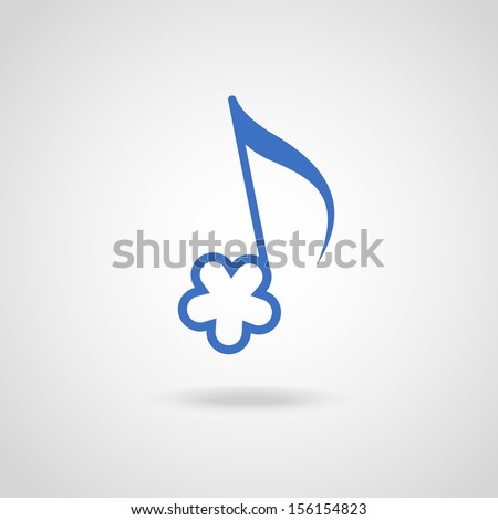 Vector note in shape of blue flower. Simple original music cute icon with concept of summery merry melody and easy listening. Musical abstract stylized decorative sign for print, web  - stock vector