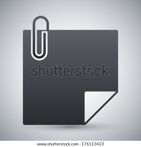 Vector note paper with paper clip icon - stock vector