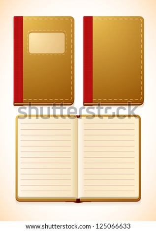 Vector notebook with lines, closed and opened versions - stock vector