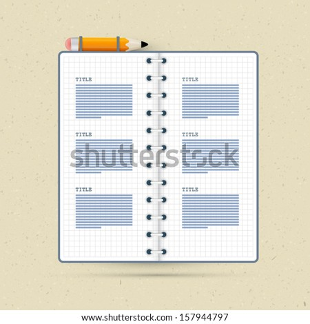 Vector Notebook With Pencil on Recycled Paper Background - stock vector