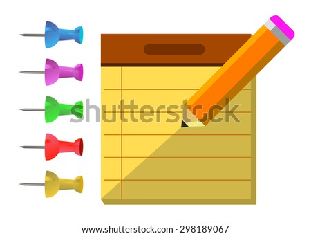 vector notepad noteboo, business symbol idea paper - stock vector