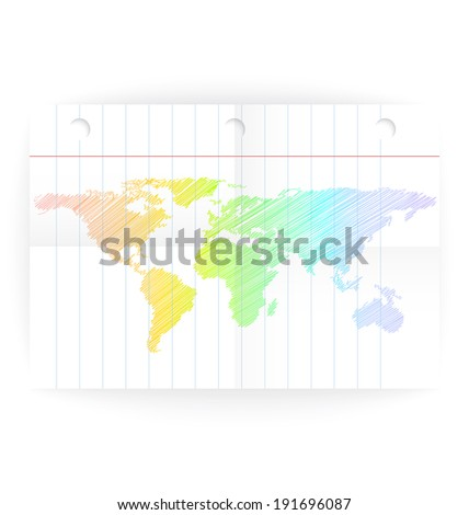 Vector notepad ruled page with folded lines and world map rainbow crayon colored.  - stock vector