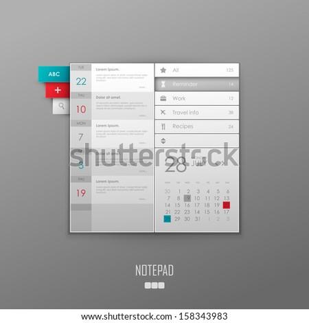 Vector notepad template design - stock vector