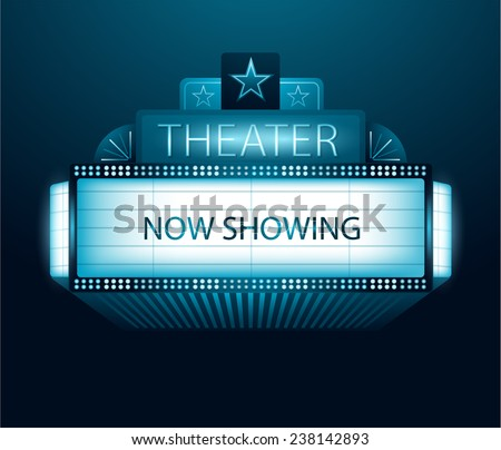 Vector now showing movie theater banner - stock vector