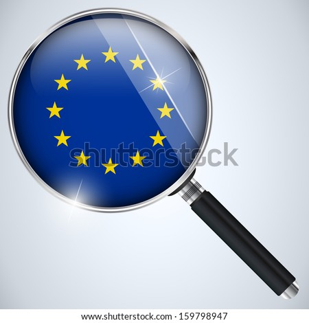 Vector - NSA USA Government Spy Program Country Europe - stock vector
