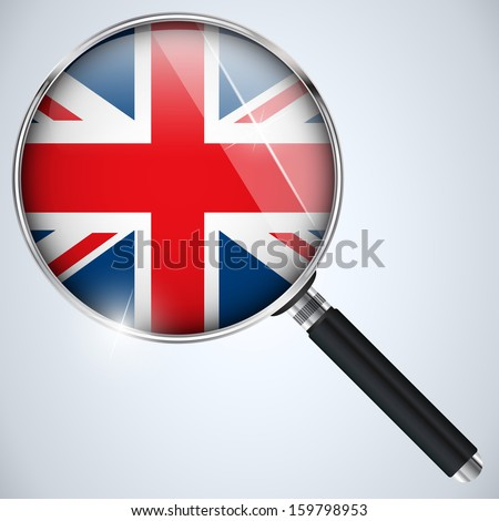 Vector - NSA USA Government Spy Program Country UK - stock vector