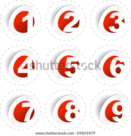 Vector number collection 1,2,3,4,5,6,7,8,9. Sticker pattern for design. - stock vector