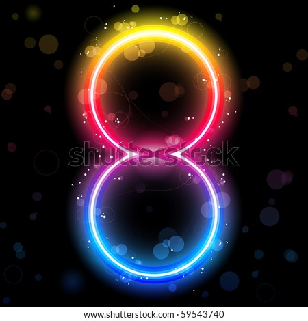 Vector - Number Rainbow Lights  Glitter with Sparkles - stock vector