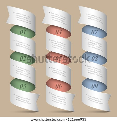 Vector numbered ribbons-banners. Modern design template - stock vector
