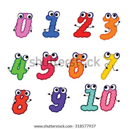 Vector Numbers - cartoon character set of colorful numeri - cute figure with eyes and hands. Childish numeri. Funny cipher silhouettes. Vector illustration. Isolated. Eps 10. - stock vector