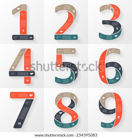 Vector numbers 1, 2, 3, 4, 5, 6, 7, 8, 9 infographics set. Template for font diagram, graph, presentation and chart. Business concept with options, parts, steps or processes. Abstract background. - stock vector